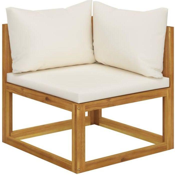 8118Good- Canapé sectionnel • Canapé d'angle droit fixe • Canapé Sofa de salon Retro Design, et coussin blanc crème Bois d'acacia
