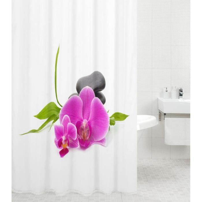 Rideau de douche Bien-être 180 x 200 cm - de haute qualité - 12 anneaux inclus - imperméable - effet anti-moisissures