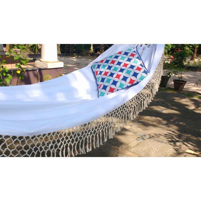 Hamac à franges en coton blanc - Dimensions 250 x 90 cm