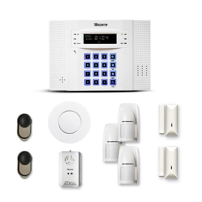 Alarme maison sans fil DNB 2 à 3 pièces mouvement + intrusion + détecteur de fumée + gaz - Compatible Box internet