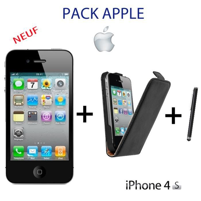 apple iphone 4s noir neuf 8go housse stylet achat. Black Bedroom Furniture Sets. Home Design Ideas