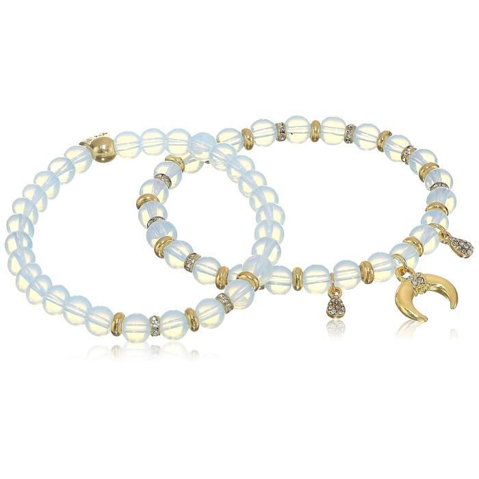 Ettika Double Take Elastic In Opal And Gold Stretch Bracelet QRZX5