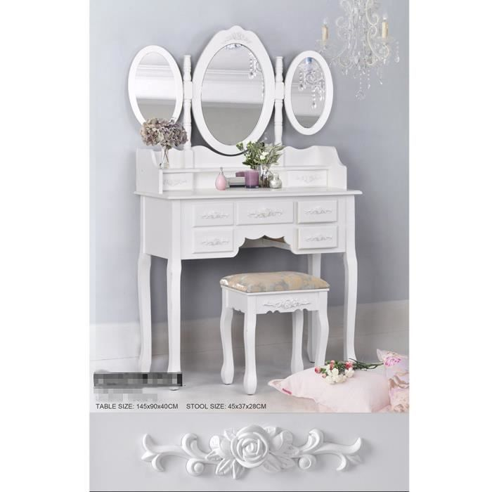 coiffeuse meuble table de maquillage avec miroir et. Black Bedroom Furniture Sets. Home Design Ideas