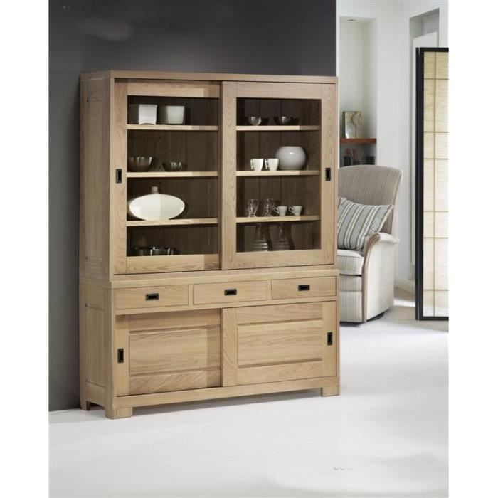 vaisselier ch ne massif 2 portes coulissantes virginia meuble house achat vente vitrine. Black Bedroom Furniture Sets. Home Design Ideas