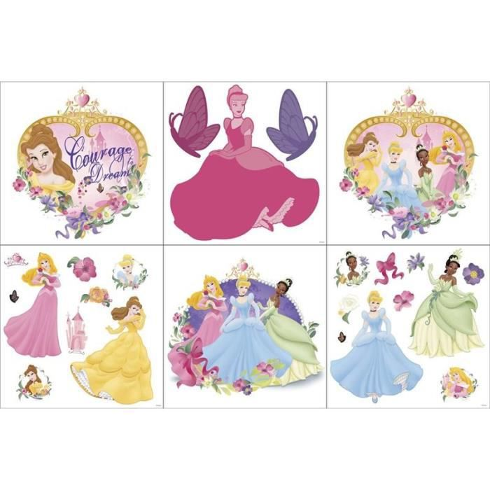 Stickers muraux princesses paillettees 6 planches achat - Stickers muraux repositionnables ...