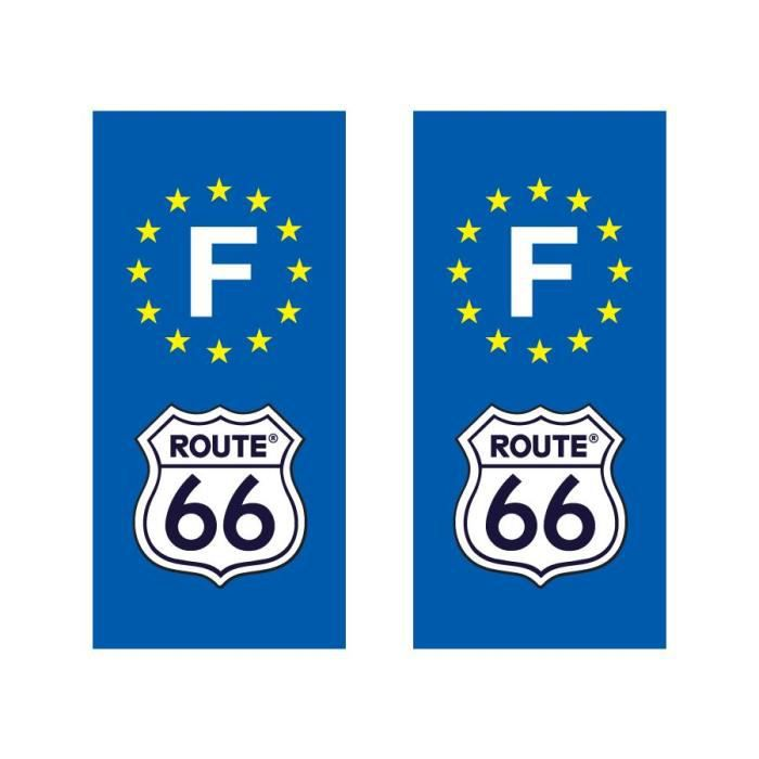 sticker pour plaque d 39 immatriculation route 66 achat vente d coration v hicule stickers. Black Bedroom Furniture Sets. Home Design Ideas