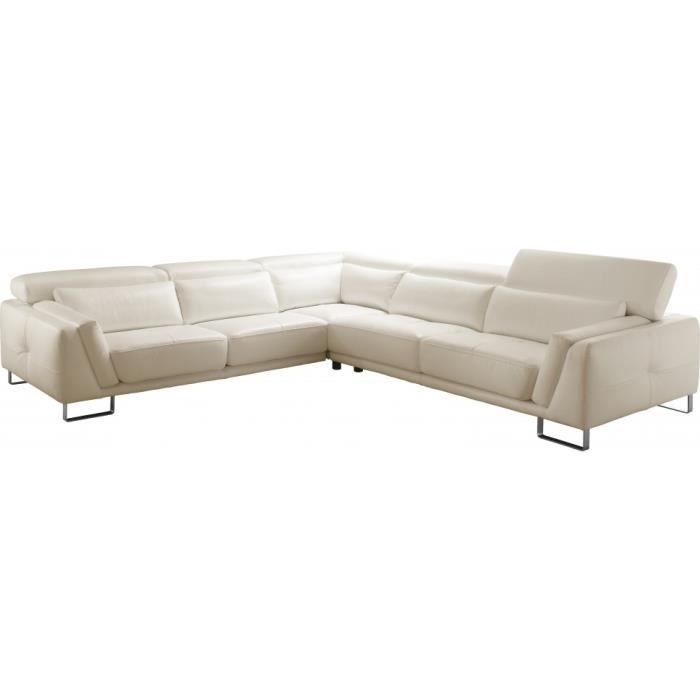 Canape d angle blanc cuir maison design for Achat canape cuir