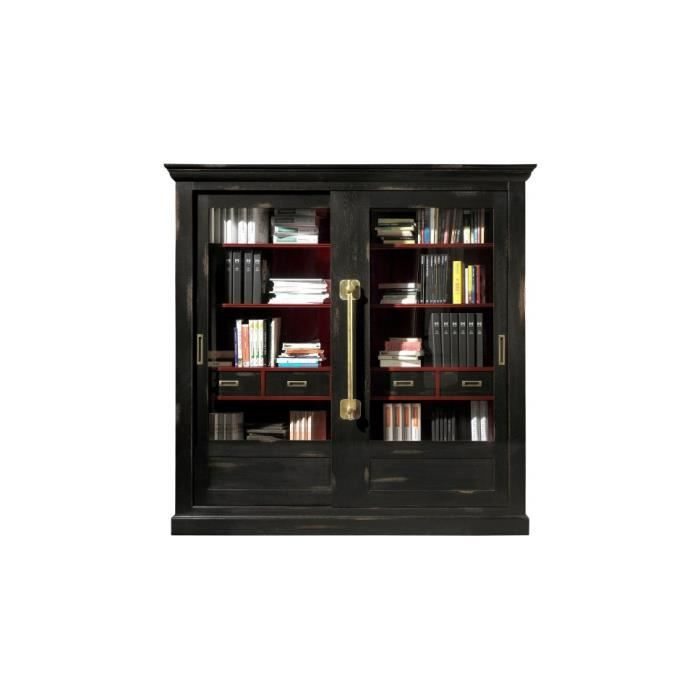 grande biblioth que ch ne massif noir 2 portes coulissantes vitr es meuble style d co. Black Bedroom Furniture Sets. Home Design Ideas