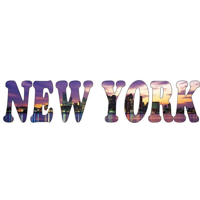 sticker mural new york dimensions 130x28cm achat vente stickers cdiscount. Black Bedroom Furniture Sets. Home Design Ideas