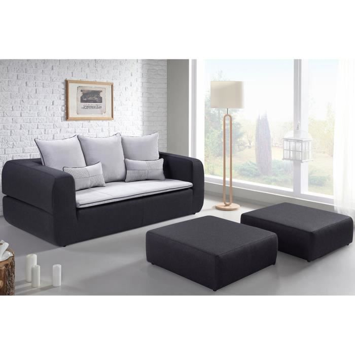 canap convertible 3 places 2 poufs noir et b achat vente canap sof. Black Bedroom Furniture Sets. Home Design Ideas