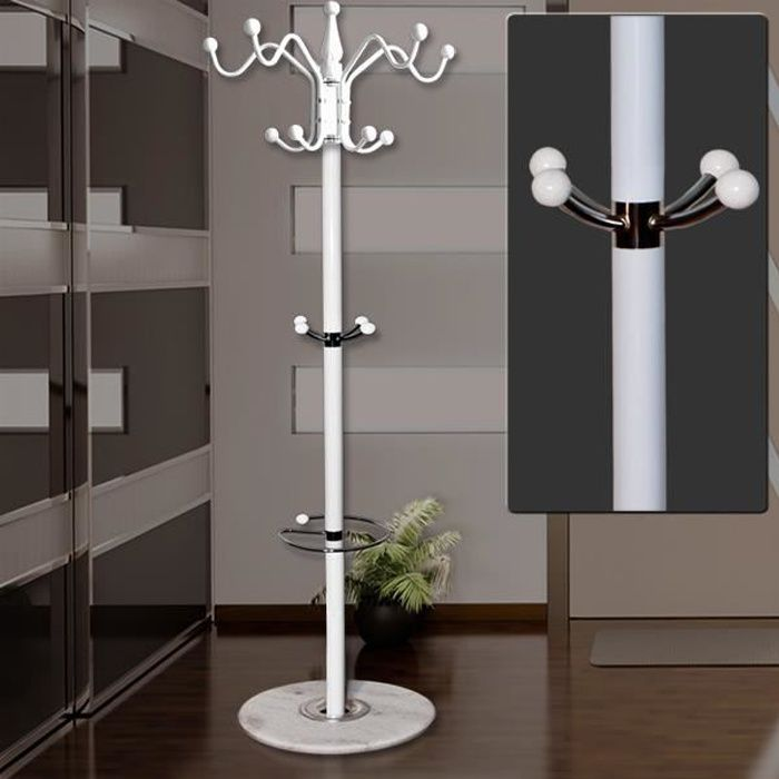 porte manteau blanc avec support parapluie 170cm achat. Black Bedroom Furniture Sets. Home Design Ideas