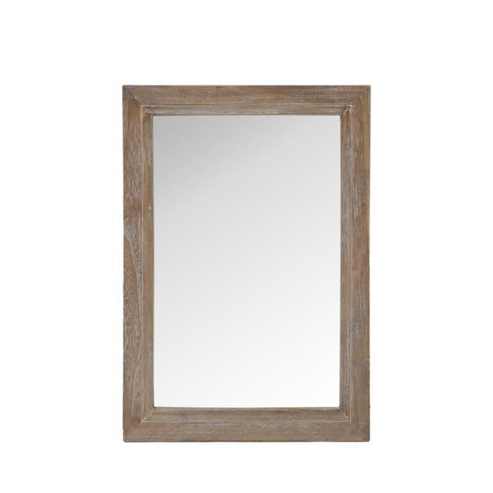 Miroir rectangle bois naturel 70 cm achat vente miroir for Miroir bois 50 x 70