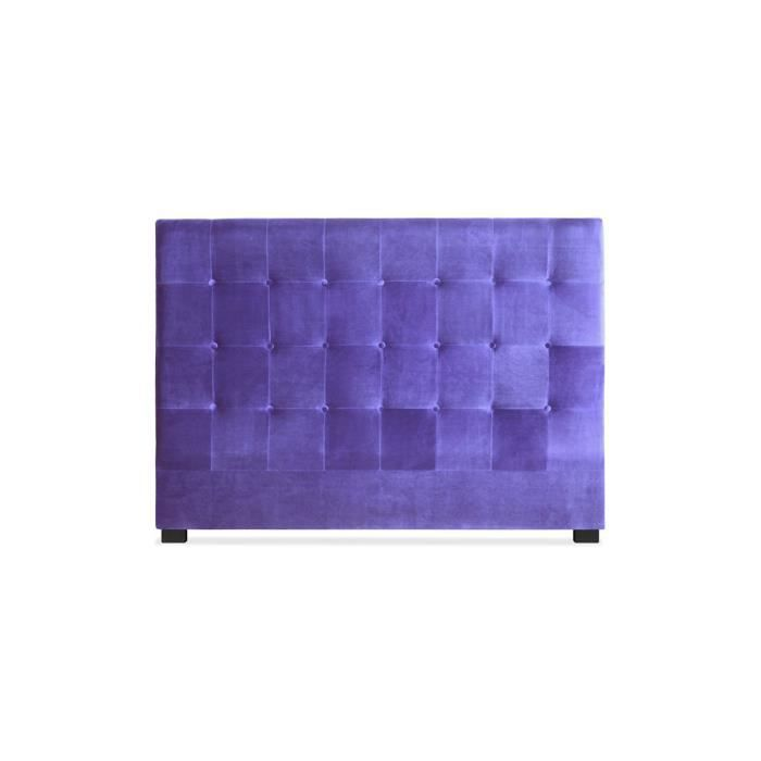 t te de lit capitonn e 160 cm velours violet somy achat. Black Bedroom Furniture Sets. Home Design Ideas
