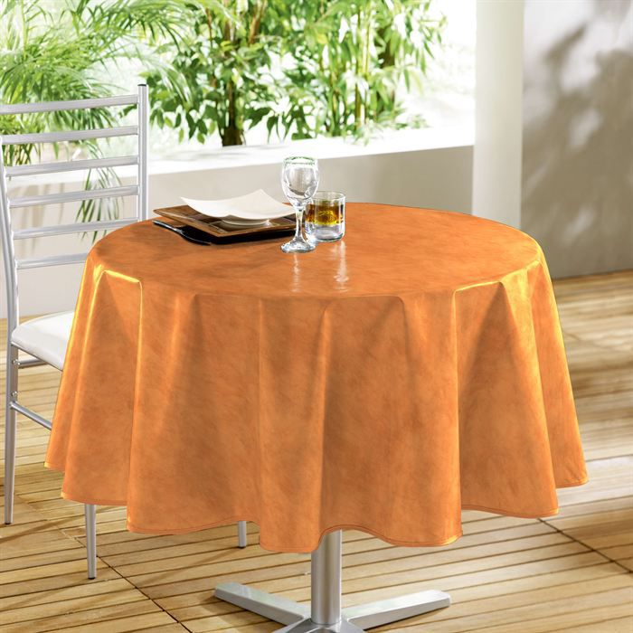 nappe toile cir e ronde 160cm beton cire mandarine achat vente nappe de table cdiscount. Black Bedroom Furniture Sets. Home Design Ideas