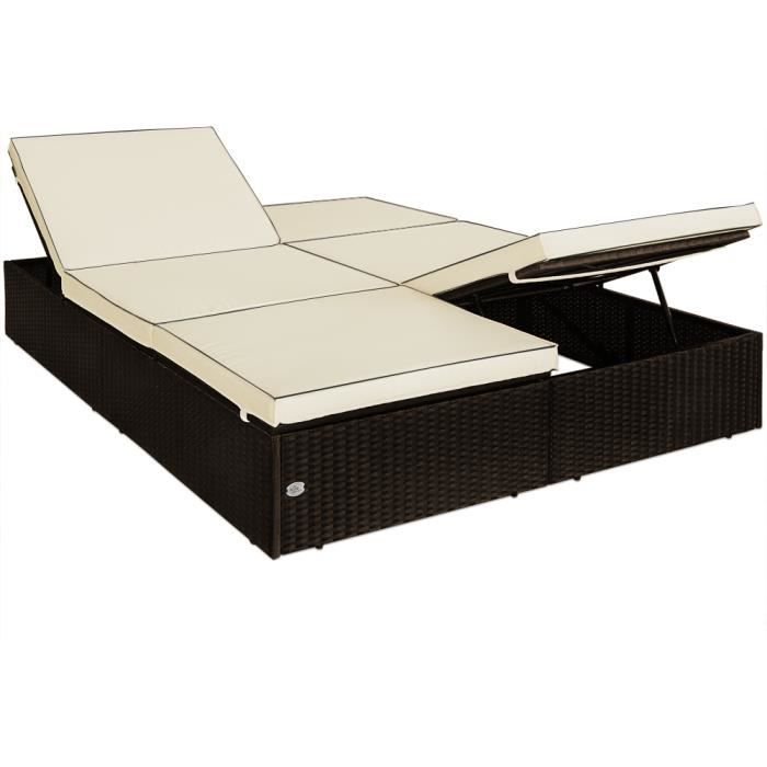 chaise longue double canap lit polyrotin jardin espace int rieur ext rieur achat vente. Black Bedroom Furniture Sets. Home Design Ideas
