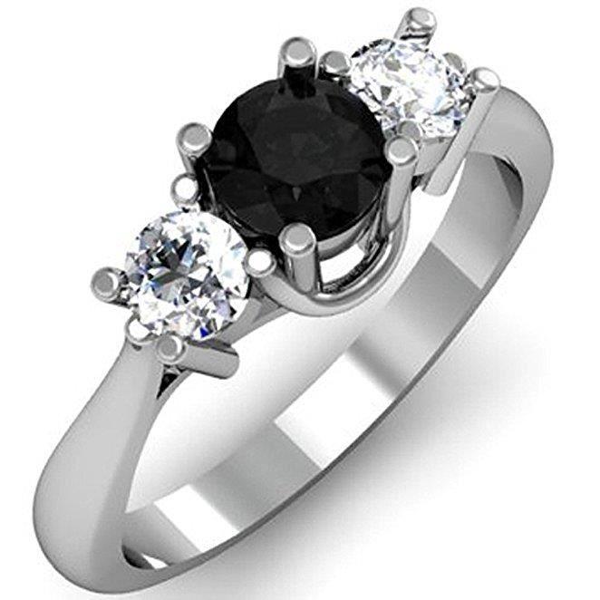 bague diamant et pierre noir