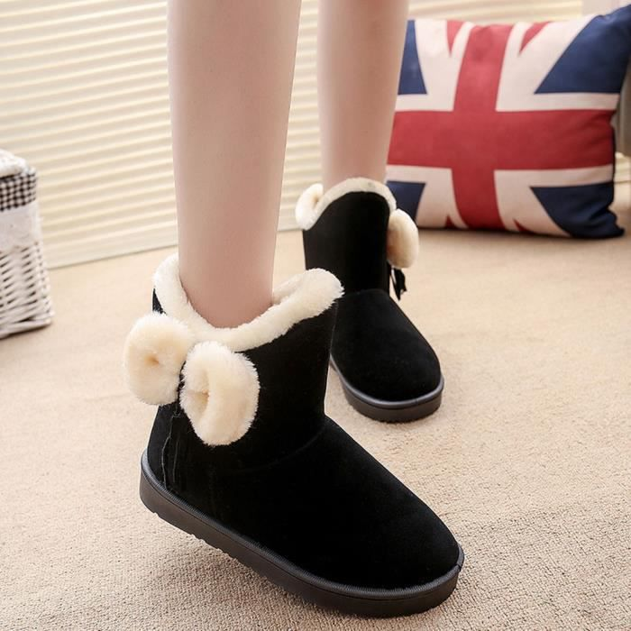 BOTTINE Bowknot chaud Femmes Flats Chaussures SNOW BOOTS A