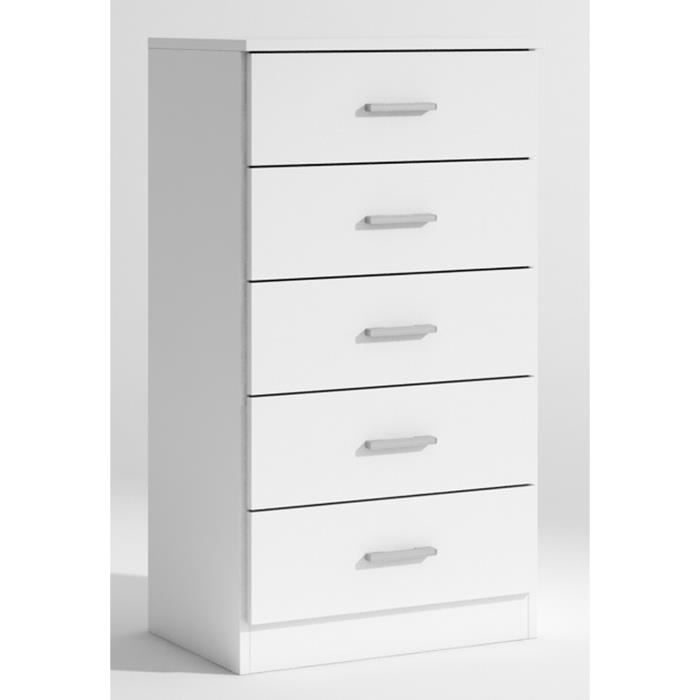 chiffonnier andre avec 5 tiroirs coloris blanc l500 x h904 x p333 mm achat vente. Black Bedroom Furniture Sets. Home Design Ideas