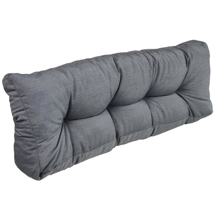 coussin long dossier pour palette europe 120x40 cm gris pour ext rieur r sistant aux. Black Bedroom Furniture Sets. Home Design Ideas