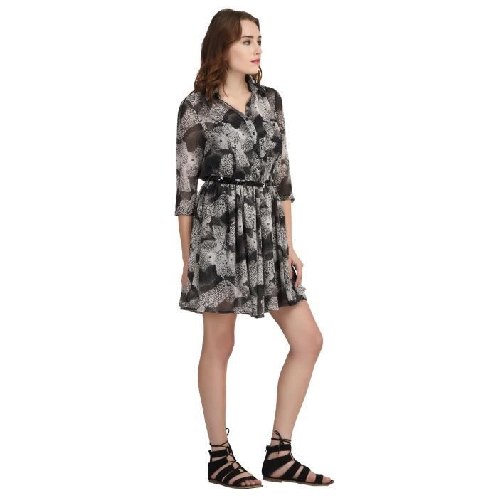 Womens Black Grey Shirt Dress ABYBD Taille-40