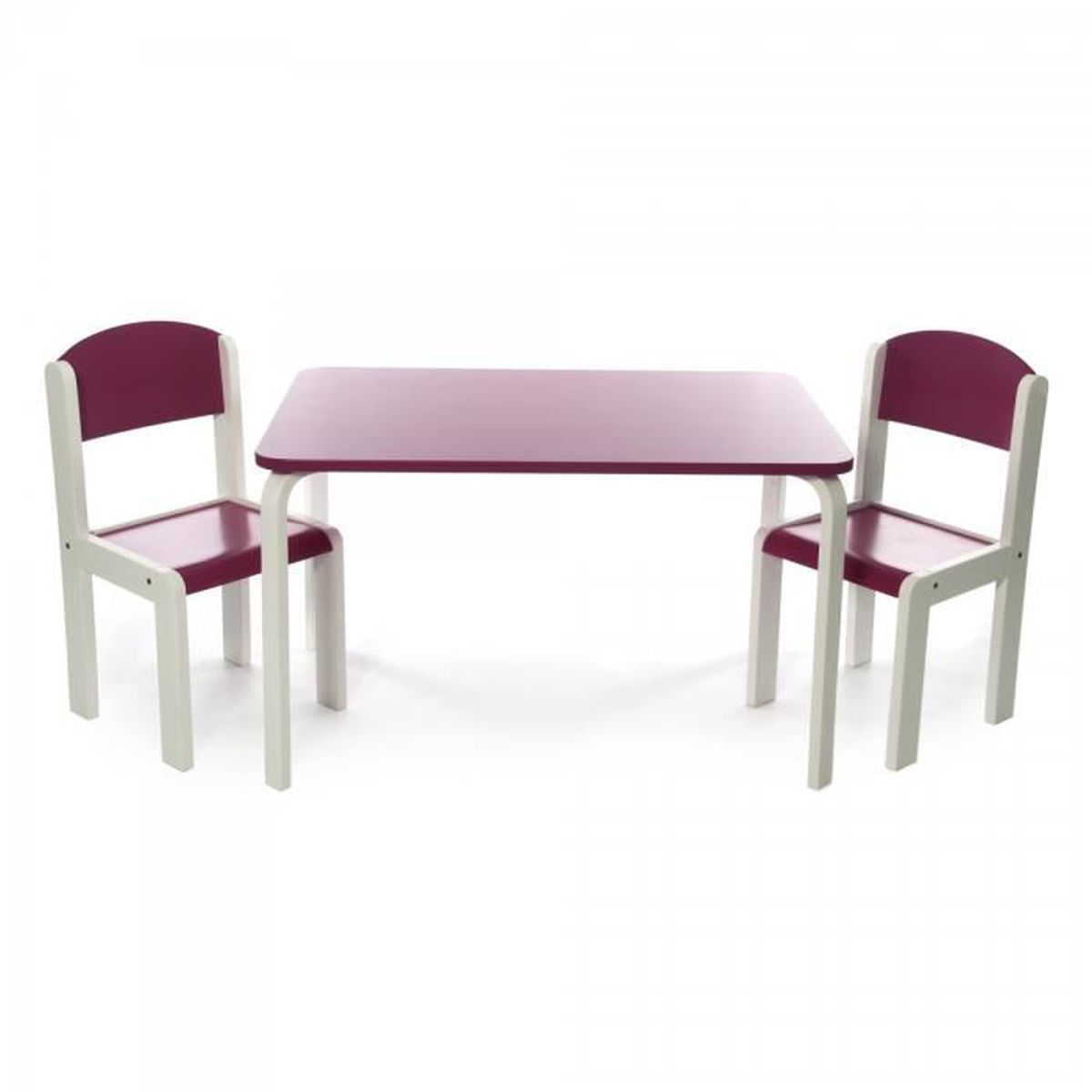 ensemble table et deux chaises en bois pour enfants design fabio xl fuchsia achat vente. Black Bedroom Furniture Sets. Home Design Ideas