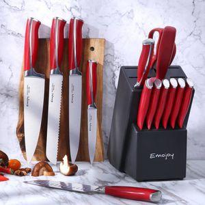 COUTEAU DE CUISINE  Ensemble de 15 Couteau de Cuisines, Bloc de Coutea