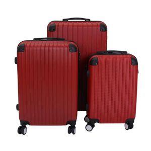 SET DE VALISES SET de 3 Valise en ABS Rouge 55/63/75cm -  4 Roues