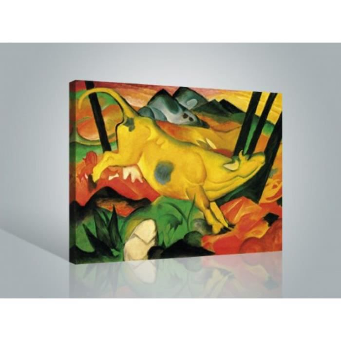 franz marc poster reproduction sur toile tendue sur ch ssis la vache jaune 60 x 80 cm. Black Bedroom Furniture Sets. Home Design Ideas