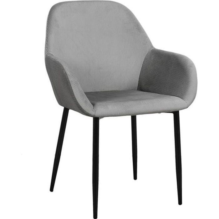 Poufs fauteuils et chaises - Fauteuil - L 55.7 cm x l 59.2 cm x H 85 cm - Giulia - Gris