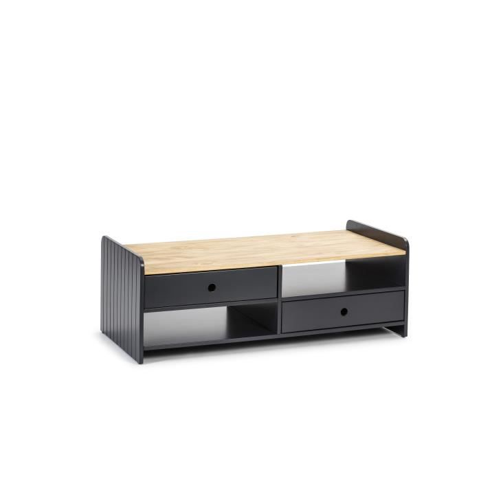 ARIANE Table de salon ARIANE 2 tiroirs - Décor chêne et anthracite - L 110 x P 55 x H 40 cm