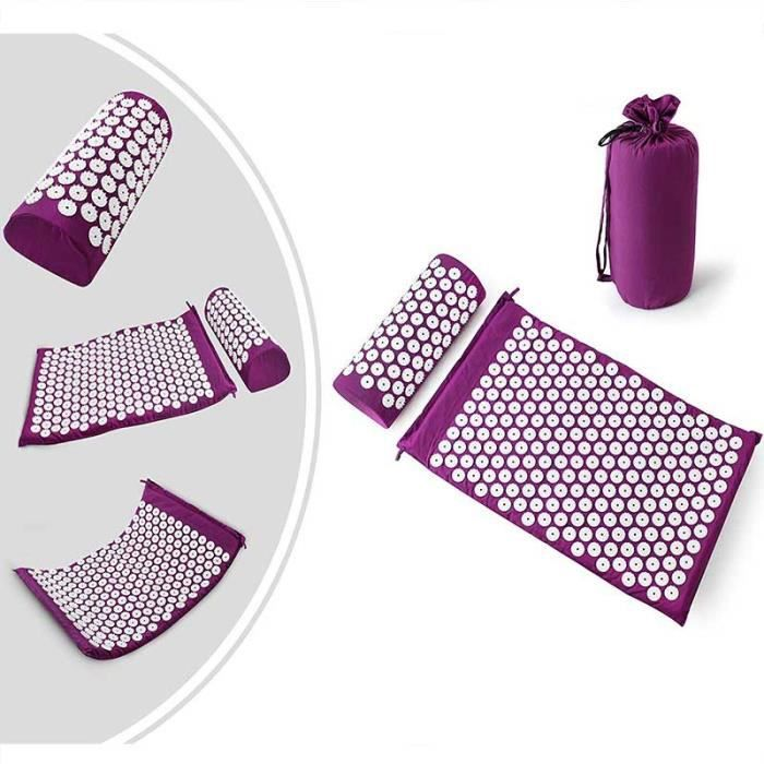 Kit d'Acupression avec Tapis et Coussin, Set de Massage (Violet)