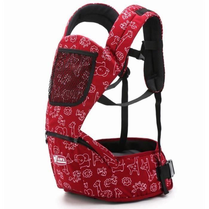 Porte bébé 3-48 mois rouge mode Tabouret bébé à double épaule Nouveau modèle Multifonction Sac de rangement pratique Porte bébé