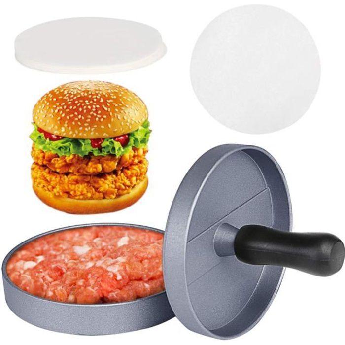 Presse à Burger Steak Haché Antiadhésif Moule à Patty Diamètre 11.7cm en Aluminium Avec 80 Papier Disques de Cire (2 pack)