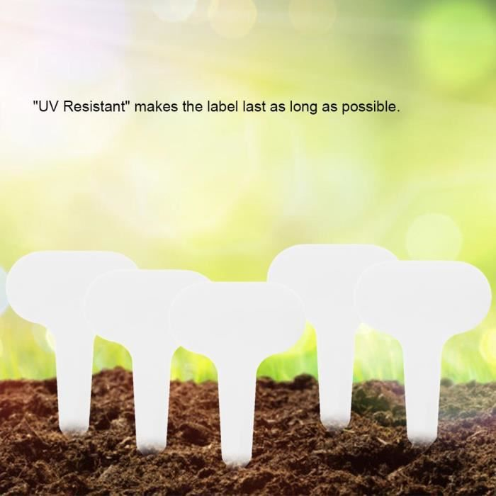 Etiquette Jardin,100pcs plante en plastique de type t balises marqueurs étiquettes de jardin de pépinière 5 * 7 cm (Blanc)