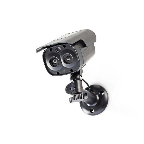 Caméra factice de surveillance bullet avec panneau solaire - IP44 noire
