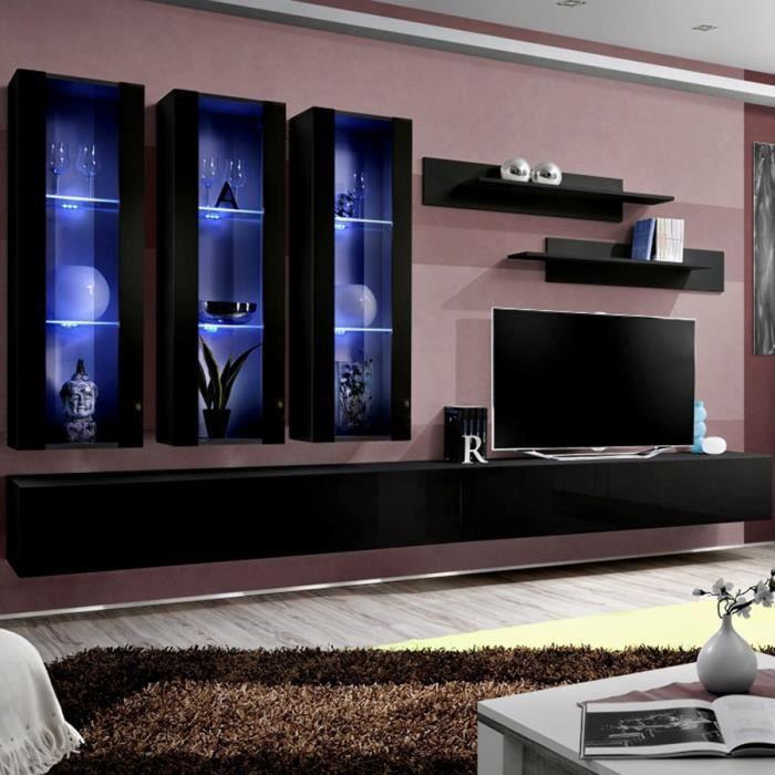 Ensemble meuble TV noir design PIAZZA Noir L 320 x P 40 x H 190 cm