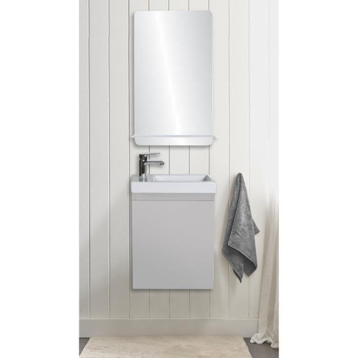Lave-mains gris sable LISA avec miroir tablette blanche