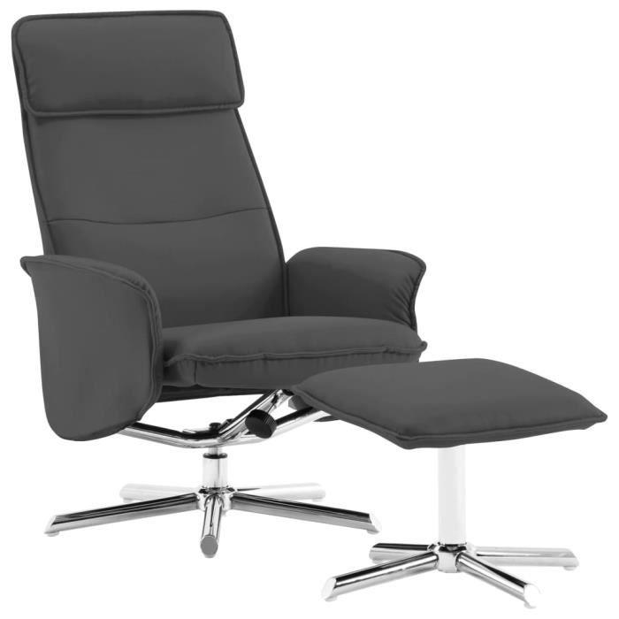Fauteuil relax inclinable style contemporain 72 x 82 x 102 cm confort Fauteuil TV - avec repose-pied Anthracite Similicuir