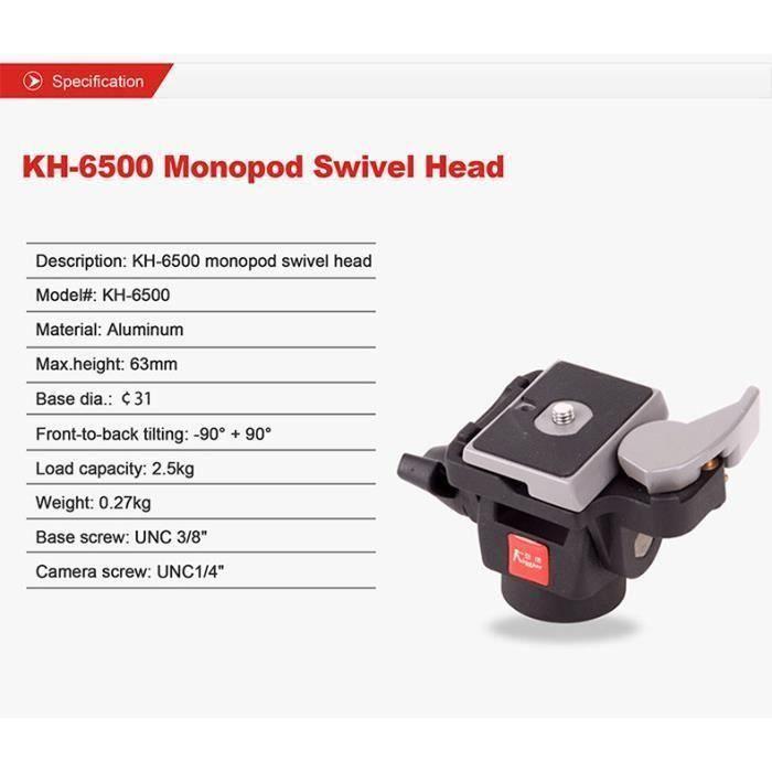 DimiDay® KH-6500 trépied rotule tête pivotante avant-vers l'arrière Tilt aluminium mini avec plaque 1-4 3-8 pouces vis pour DSLR Cam