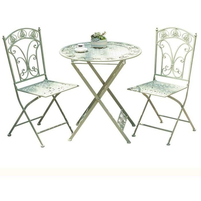 Table basse de jardin Table pliante-chaise, fer forg&eacute table ronde, une combinaison de 3 pi&egraveces tables de jardin et 197