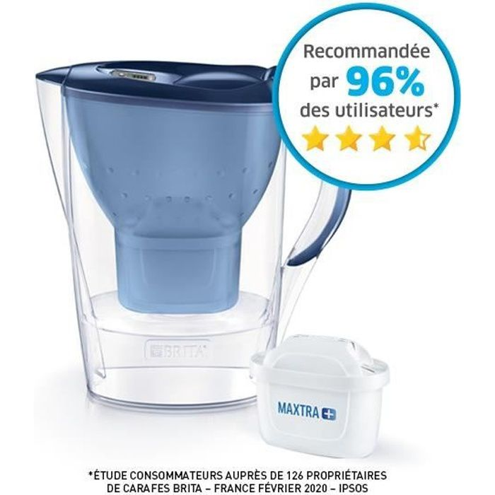 BRITA Carafe filtrante MARELLA Bleu + 1 Cartouche de rechange