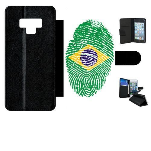 Etui a rabat - Plastique - Noir Samsung Galaxy Note9 60 EMPREINTE DIGITALE DRAPEAU BRESIL BRAZIL