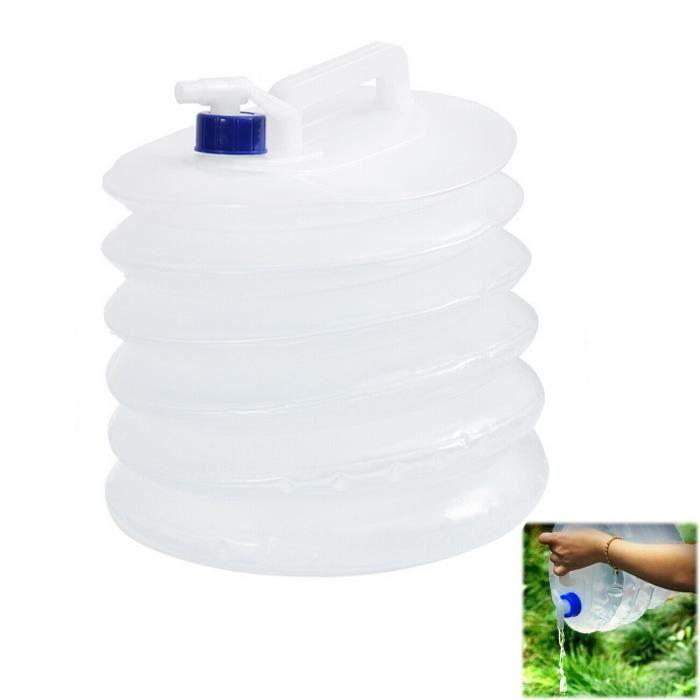 10 L Seau de camping en plein air en PE, sac d'eau pliable portable, sac d'eau en plastique avec couvercle