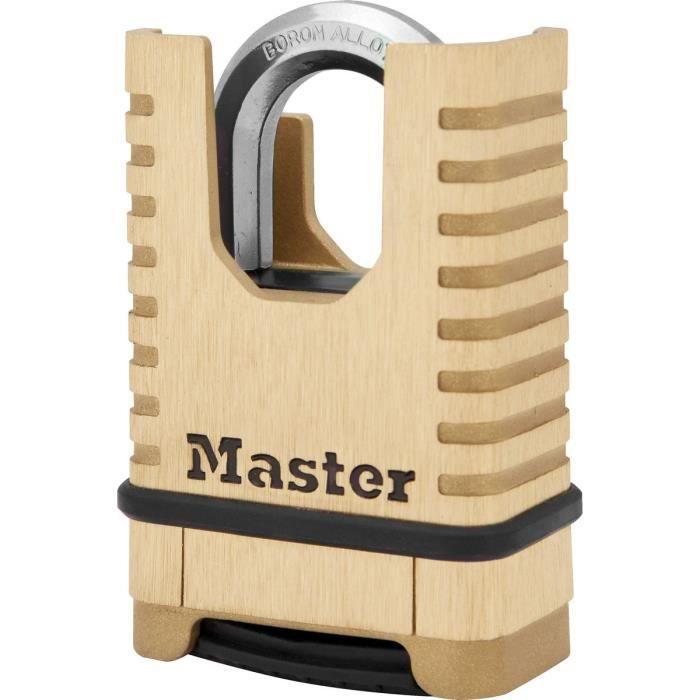 MASTER LOCK Cadenas en Laiton Massif Haute Sécurité [Anse Protégée][À Combinaison] M1177EURD