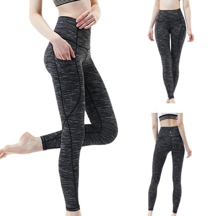 Les femmes Workout Out Leggings Pocket Sport Fitness Course Yoga Pantalons athlétique gris