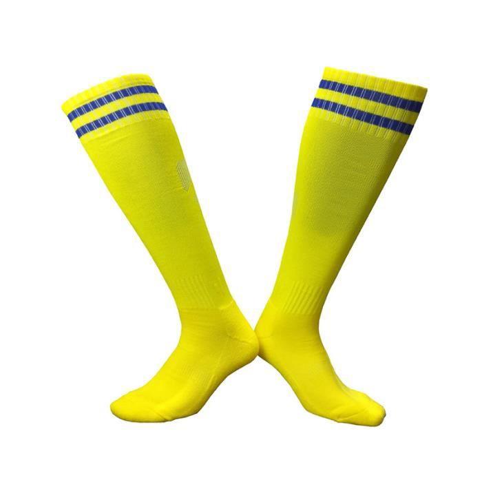 Chaussettes de football section mince pour adultes Chaussettes montantes de Compression Homme Femme Chaussettes de sport à rayures