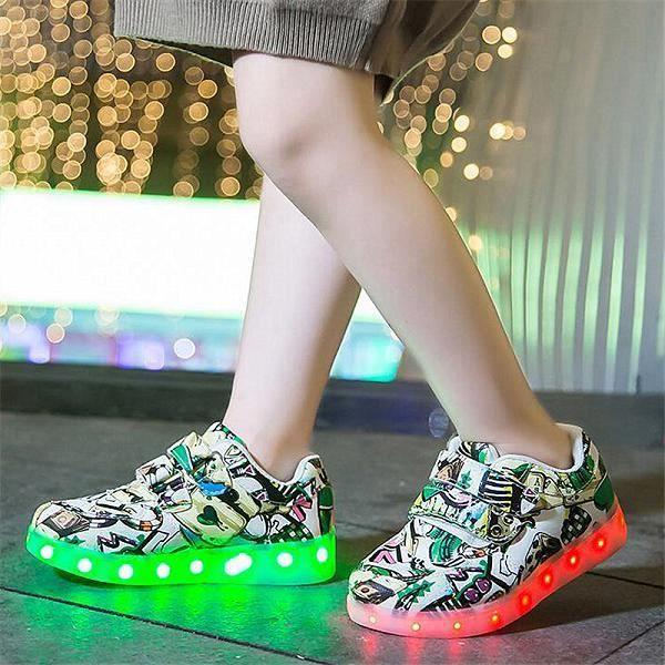 Chaussures enfants,7ipupas enfants chaussure lumineuse gar?on filles Sport chaussure de course bébé lumières lumineuses mode bask