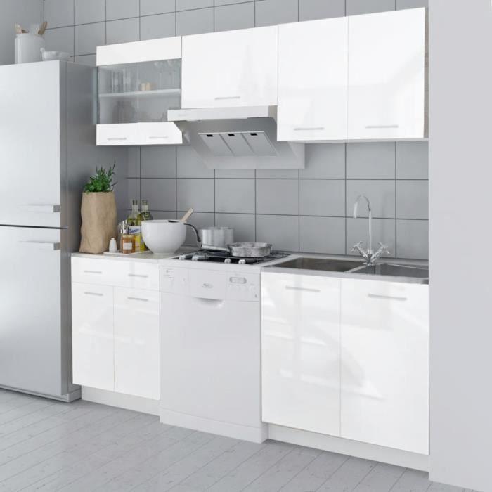 Armoire de cuisine 5 pcs Blanc haut brillance 200 cm Buffet de cuisine