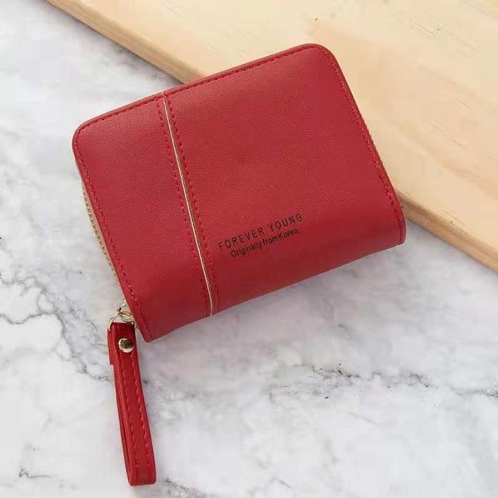 Portefeuille Femme en Cuir synthétique Lisse et Doux Porte Monnaie Porte Chéquier , Nombreux Compartiments (Rouge)