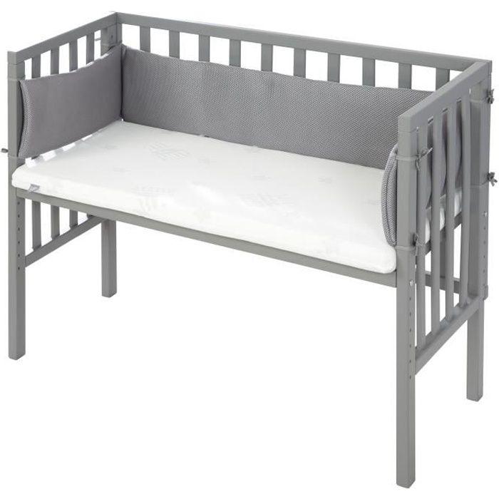 ROBA Lit cododo -safe asleep®- 2 en 1 gris, avec matelas ventilé, tour de lit et barrière